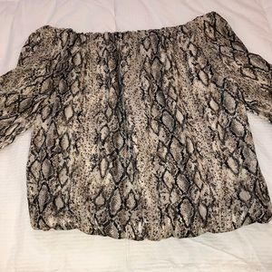 Do + Be Snake Print off the shoulder shimmer top